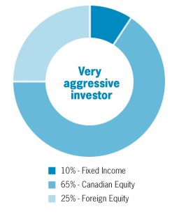 Overview of pie chart for Very Aggressive investor: 10% Fixed income, 65% Canadian Equity, 25% Foreign equity