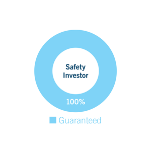 Pie chart for Safety investor: Guaranteed 100%