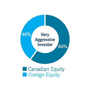Pie chart for Very Aggressive investor: Canadian Equity: 60%, and Foreign Equity: 40%