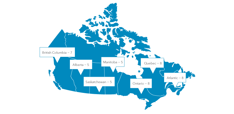 Map of Canada, that displays how many members are in each province.  From left to right: British Columbia 8, Alberta 5, Saskatchewan 5, Manitoba 5, Ontario 8, Quebec 7, and Atlantic provinces 8.