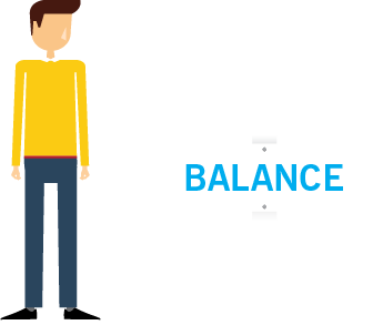 A cartoon illustration of a man in a yellow sweater who is standing beside a sign that says balance on it.